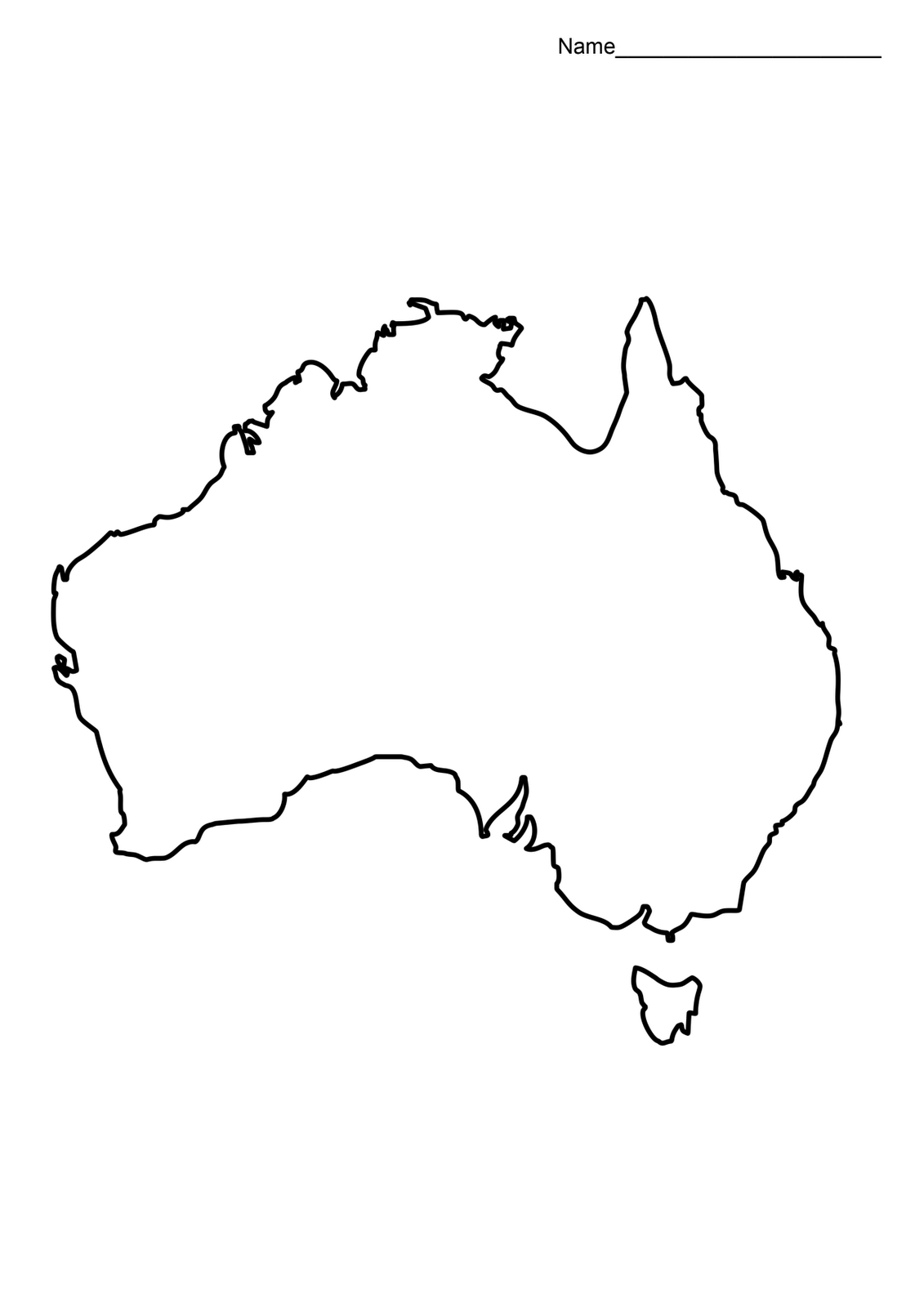 Australia Map Outline Printable