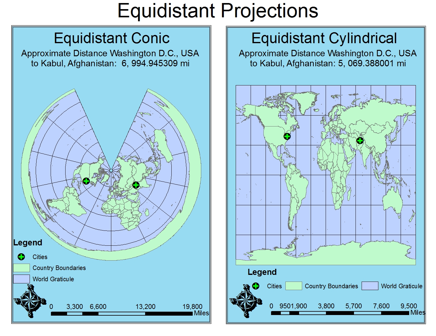 equidistant projections preserve distance along a given line usually the meridians the equidistant conic projection can also be created along one parallel