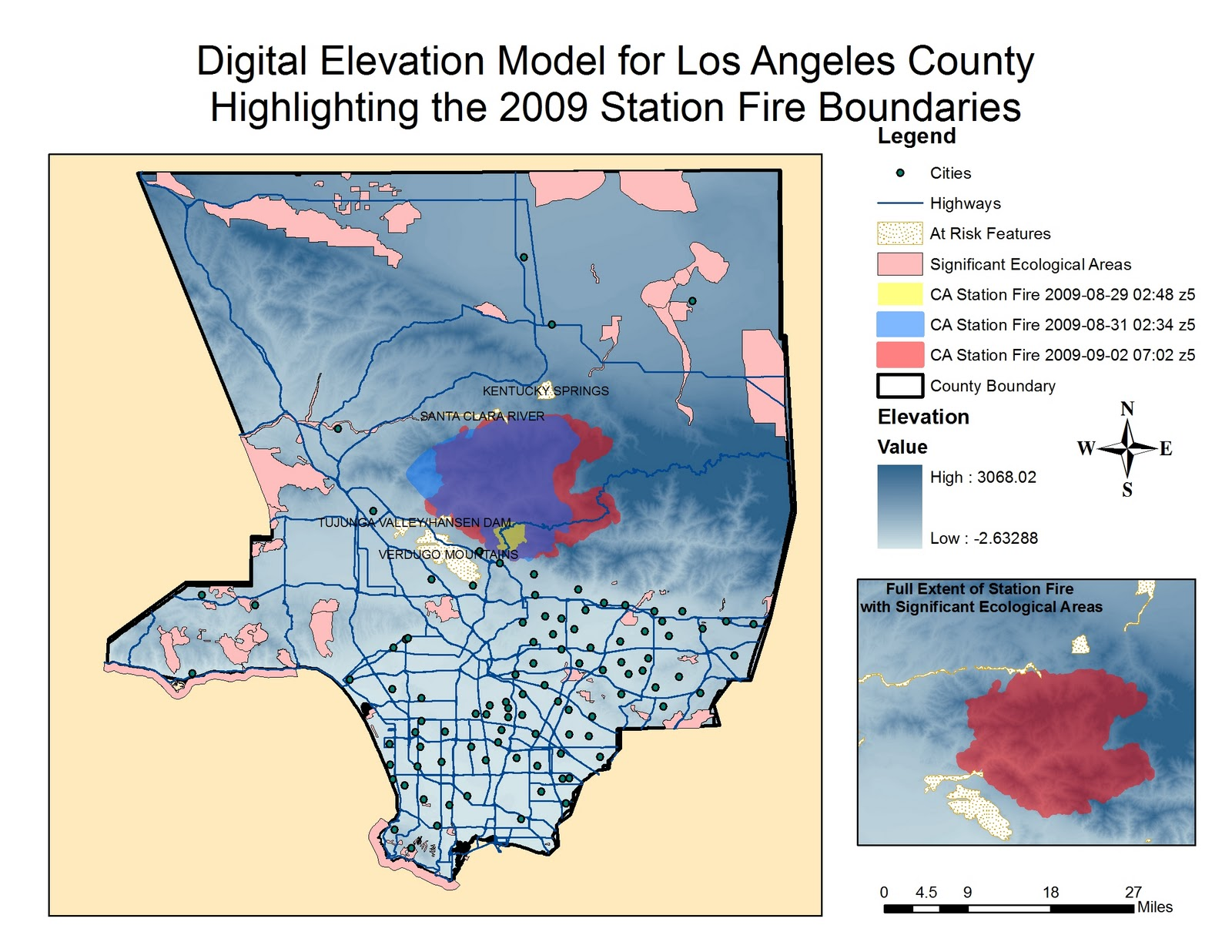 using data from the los angeles county enterprise gis website the boundaries of the fire from august 29 to september 2 the above map indicates the extent