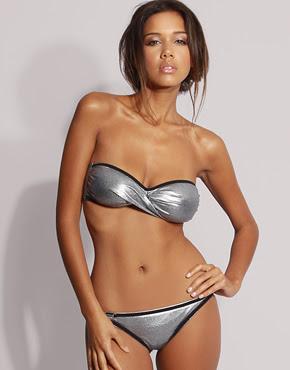 Diesel metallic bandeau bikini at asos.com.