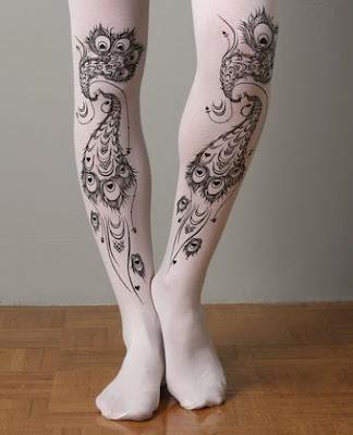 Peacock tattoo tights, at lulus.com.