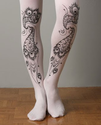 Peacock tattoo tights, at lulus.com.