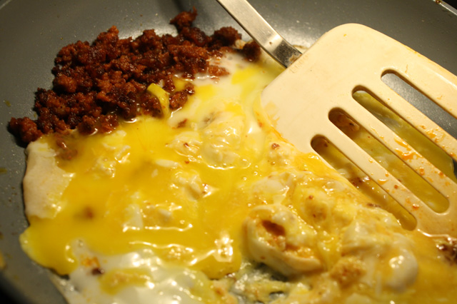 Chorizo And Eggs When the chorizo is brown on