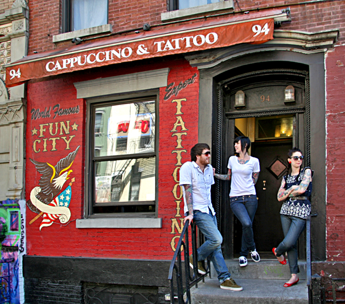 This is Fun City Cappuccino & Tattoo, a unique fusion of two extremely