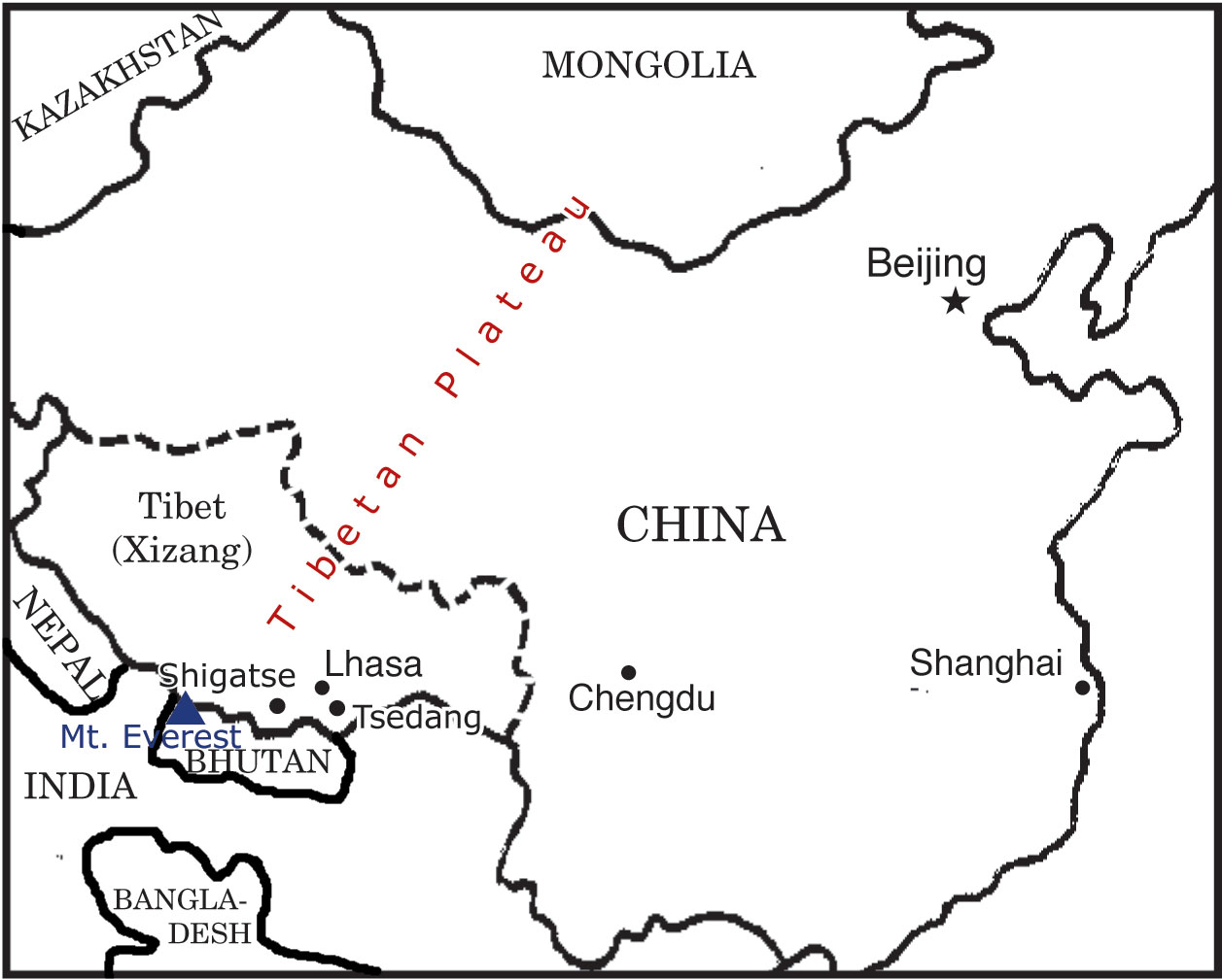 map of tibet and china