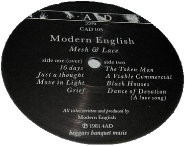 1981 Mesh and Lace Vinyl Modern English