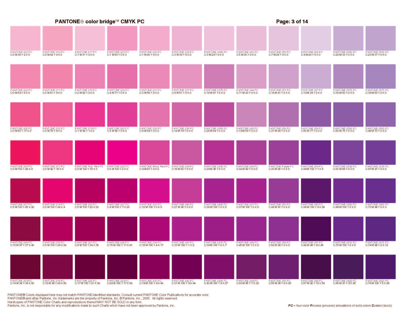 pantone pink color chart - photo #20