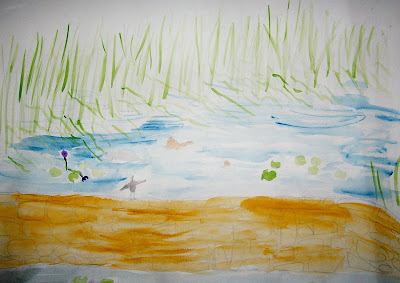 painting of a small pond with water-lilys, reeds and rock wall