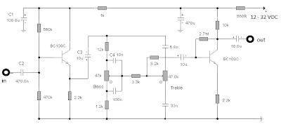 audio tone control  2 transistor