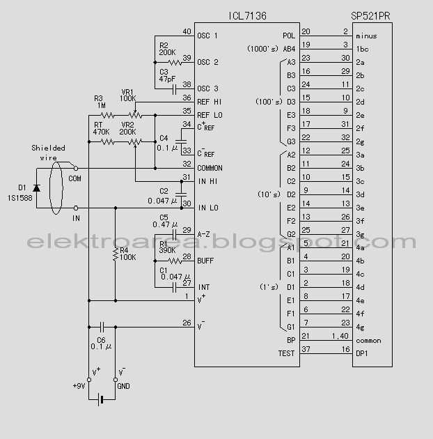rangkaian thermometer digital