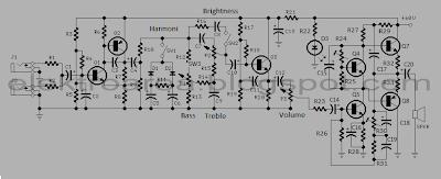 Rangkaian Guitar Amplifier + Tone Control