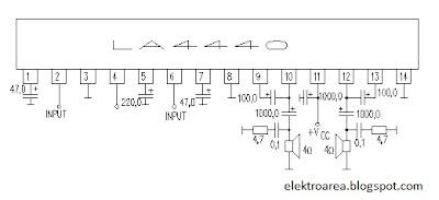 Rangkaian 6 Watt Stereo Amplifier LA4440