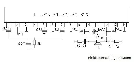 Rangkaian Amplifier La4440