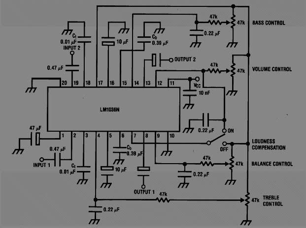 rangkaian bass-trable audio tone control
