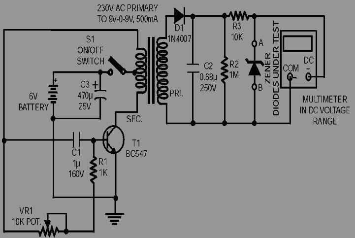 skema elektronika  rangkaian penguji  tester  dioda zener