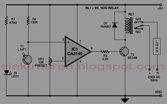 rangkaian control relay menggunakan infrared