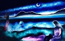 Damas no lago - Triptico - Óleo sobre tela 180x100 cm