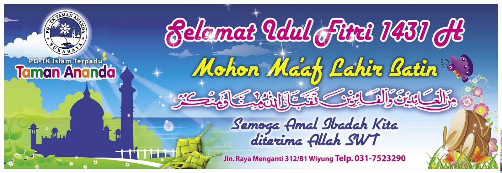 Spanduk Vinyl Ucapan Selamat Idul Fitri PG - TK Islam Terpadu Taman ...
