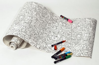 Coloring Book Wallpaper By Jon Burgerman Isnt This Great For A Kids Room How Could You Step Foot In Like And Not Want To Color