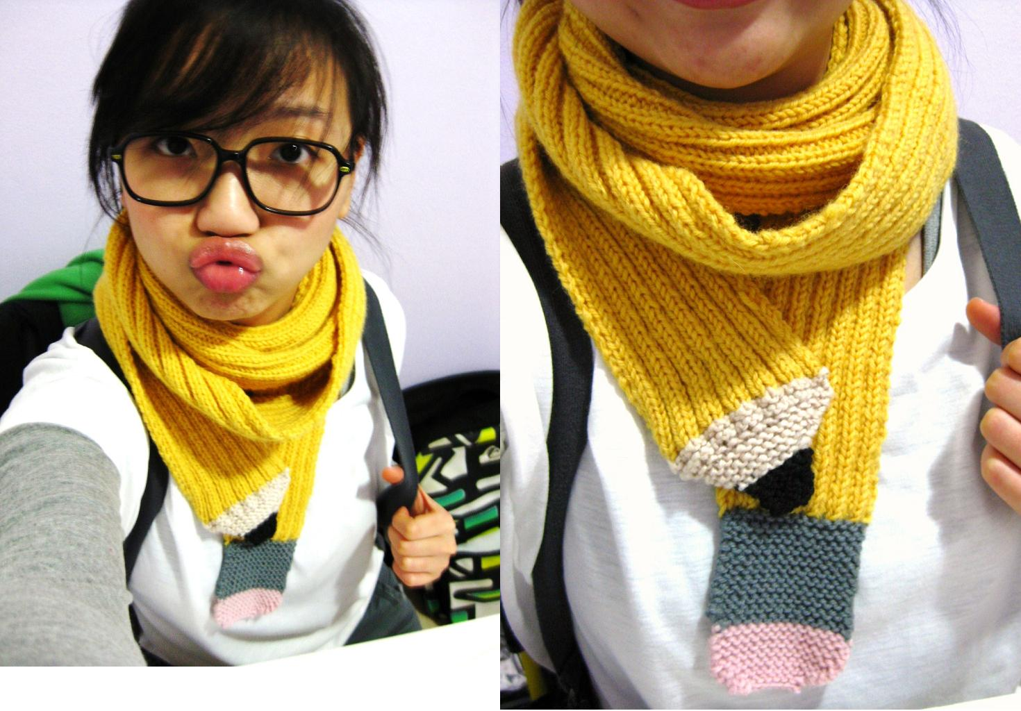 because she started knitting: FO: Pencil Scarf