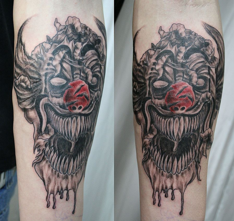 Some people like the idea of having a scary looking clown tattooed in their