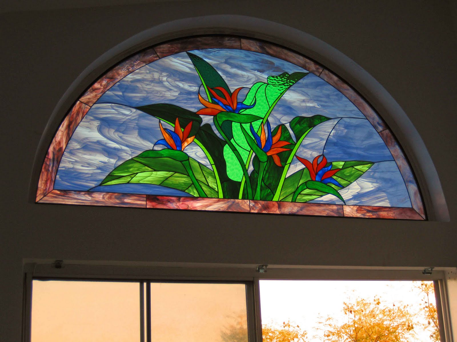 Stained Glass Craftsmen Stained Glass Arch Birds Of Paradise