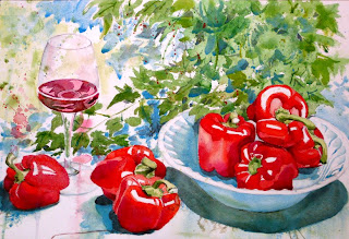 ACUARELA bodegón pimientos y copa de vino watercolor still-life wine and peppers