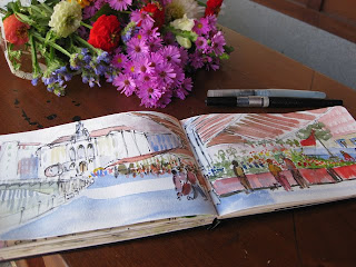 acuarela watercolor paisaje urbano mercado de flores arenal bilbao boceto urban sketcher