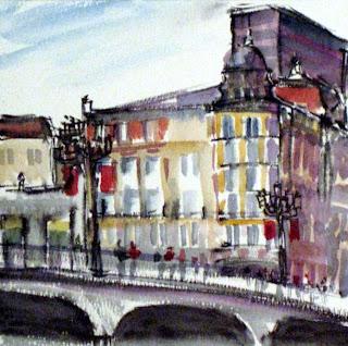 acuarela watercolor paisaje urbano sociedad bilbaina viento blog