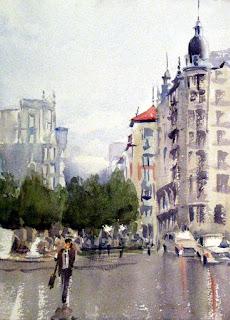 acuarela watercolor paisaje urbano bilbao plaza jado