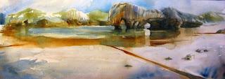 acuarela paisaje playa de cuevas del mar llanes watercolor landscape beach
