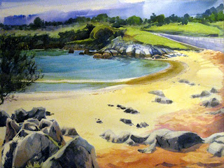 acuarela playa paisaje watercolor lendscape beach