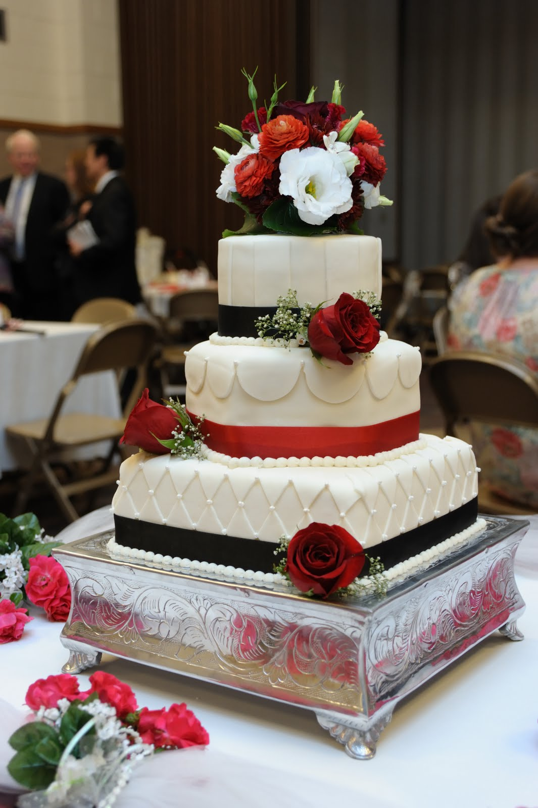 Cake Flair Red and Black Wedding Cake