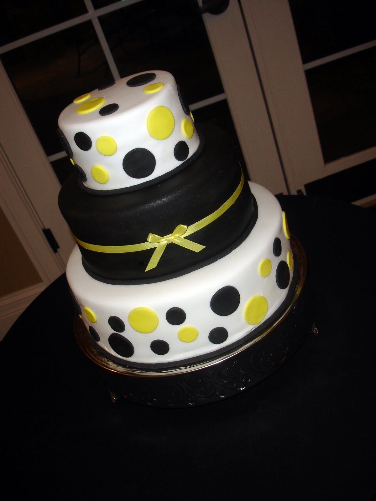 Cake Flair Black And Yellow Polka Dot