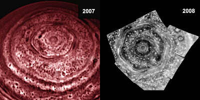 Hexágono de Saturno (Infrared observations of the north pole of Saturn as taken by the Cassini mission in 2007 and 2008 (NASA) )