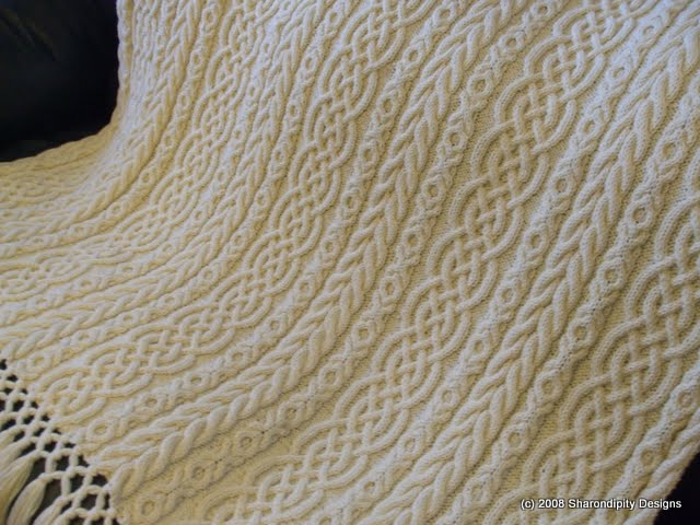 Free Knit Afghan Patterns : Sharondipity Designs: Celtic Aran Afghan Pattern