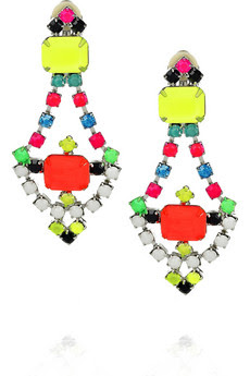 Tom Binns, Tom Binns jewelry, Tom Binns earrings, Tom Binns Hand-Painted Crystal Earrings, jewelry, earrings, Net-a-Porter