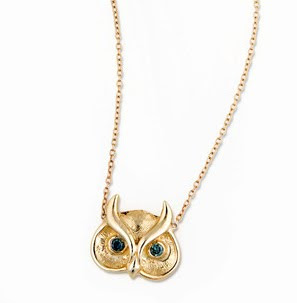 Jacquie Aiche, Jacquie Aiche necklace, Jacquie Aiche pendant, Jacquie Aiche jewelry, Jacquie Aiche 14K Blue Diamond Owl Pendant Necklace, necklace, pendant, jewelry, owl necklace, owl pendant, owl jewelry