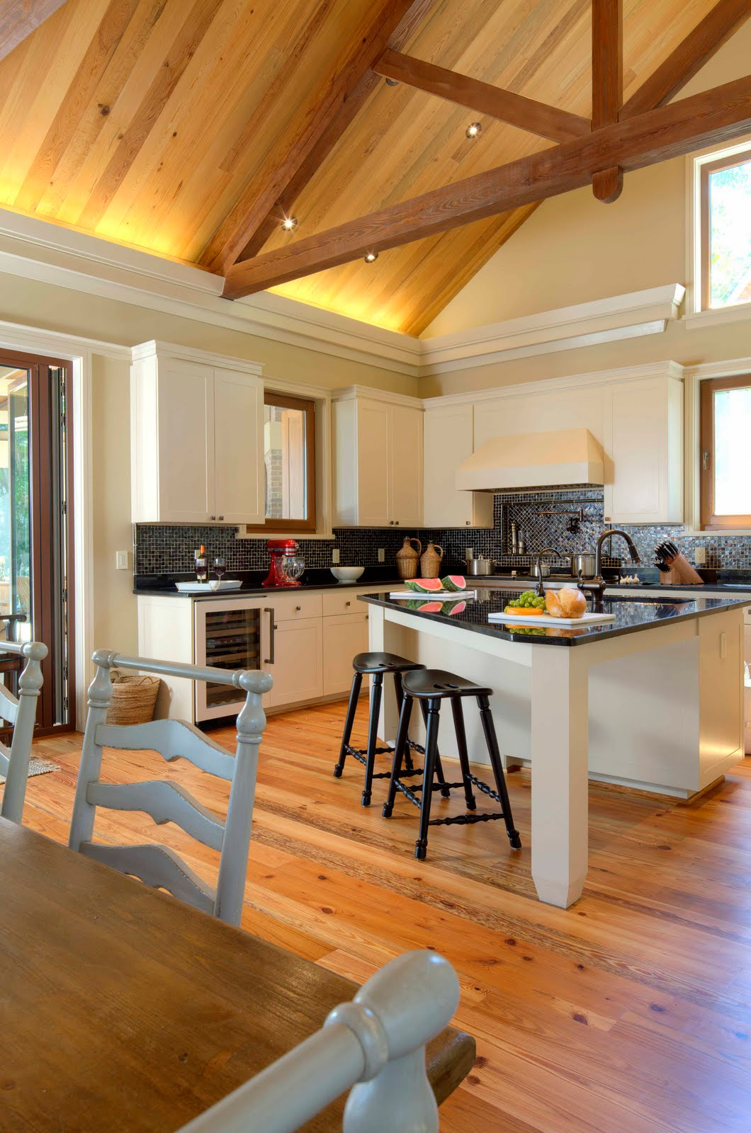Lowcountry architect crosby residence dog trot for Vaulted ceiling exposed beams