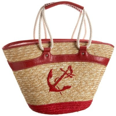 red straw tote with anchor design