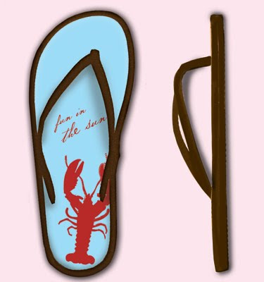 flip flops with lobster design