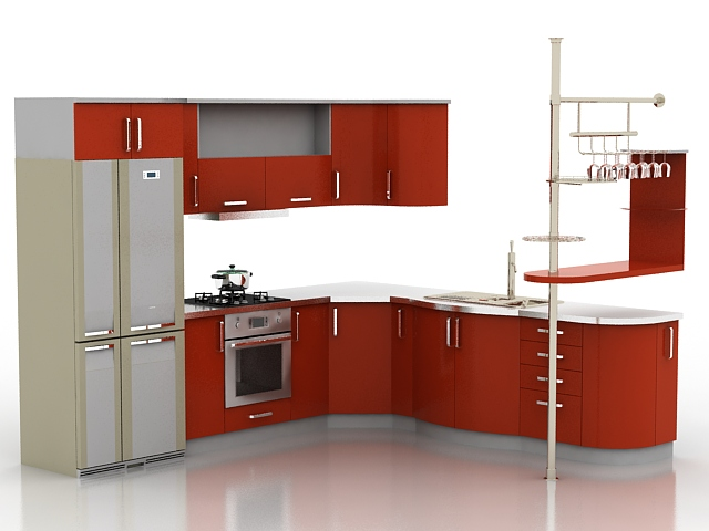 Free 3d objects kitchen set 3dsmax object for Kitchen set 3d warehouse