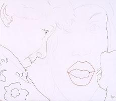 Autorretrato con Gang girl.Lápiz de color sobre papel. 54.5x48.5 cm. AMH