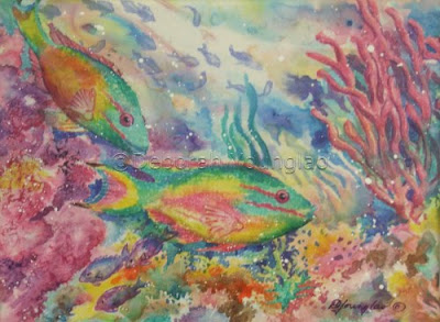 Younglao silk painting Redband Parrotfish