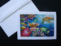 silk painting turtle notecard