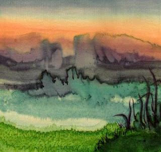 Younglao silk painting abstract landscape