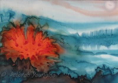 Deborah Younglao abstract silk painting: Teal/Tangerine
