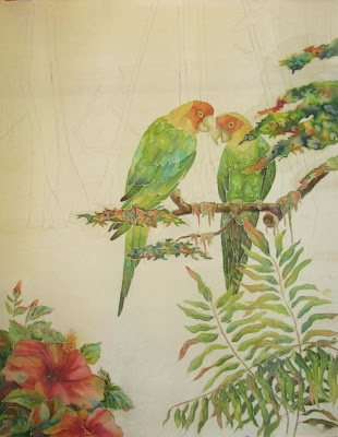 Deborah Younglao parrot silk painting progress