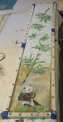Deborah Younglao silk scarf panda and bamboo