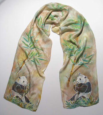 Deborah Younglao panda and bamboo silk scarf